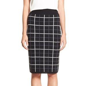 NWT Halogen black plaid knit skirt
